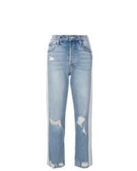 Голубые рваные джинсы-бойфренды от Mother
