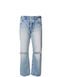 Голубые рваные джинсы-бойфренды от Moussy Vintage