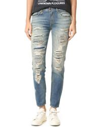 Женские голубые рваные джинсы-бойфренды от R 13