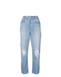 Голубые рваные джинсы-бойфренды от RE/DONE
