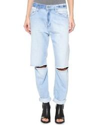 Голубые рваные джинсы-бойфренды от Rob-ert