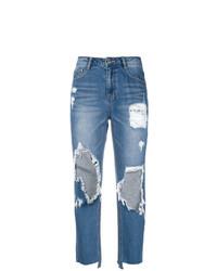 Голубые рваные джинсы-бойфренды от Sjyp
