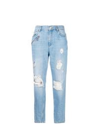 Голубые рваные джинсы-бойфренды от Versace Jeans