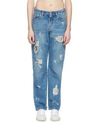 Женские голубые рваные джинсы-бойфренды от Versus