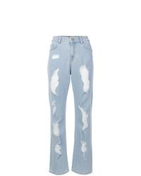 Голубые рваные джинсы-бойфренды от Versus