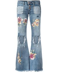Голубые рваные джинсы-клеш от One Teaspoon