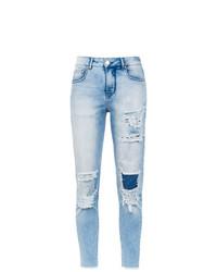 Голубые рваные джинсы скинни от Amapô