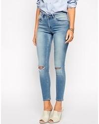 Голубые рваные джинсы скинни от Asos