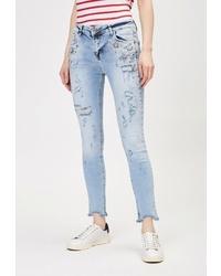 Голубые рваные джинсы скинни от DSHE