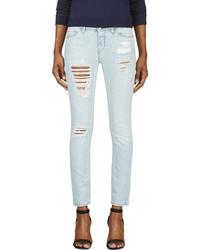 Голубые рваные джинсы скинни от IRO