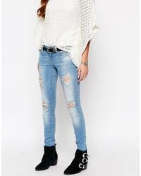 Женские голубые рваные джинсы скинни от Only