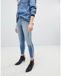 Голубые рваные джинсы скинни от Only