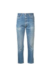 Голубые рваные джинсы скинни от RE/DONE