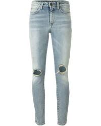 Женские голубые рваные джинсы скинни от Saint Laurent