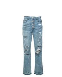 Женские голубые рваные джинсы от Amiri