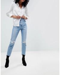 Женские голубые рваные джинсы от ASOS DESIGN