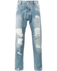 Мужские голубые рваные джинсы от Palm Angels