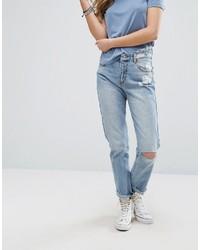 Женские голубые рваные джинсы от Pull&Bear