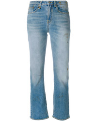 Женские голубые рваные джинсы от R 13