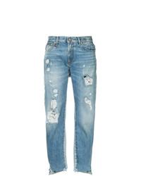 Женские голубые рваные джинсы от R13