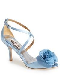 Голубые сатиновые босоножки на каблуке