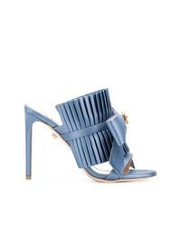 Женские голубые сатиновые босоножки на каблуке от Fausto Puglisi