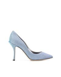 Голубые туфли из плотной ткани