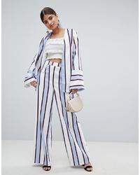 Голубые широкие брюки в вертикальную полоску от Missguided