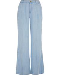Голубые широкие брюки
