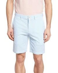 Голубые шорты из жатого хлопка в вертикальную полоску