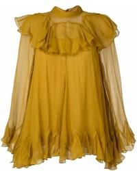 Горчичная блузка с длинным рукавом