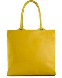 Горчичная кожаная большая сумка