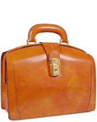 Горчичная кожаная сумка-саквояж