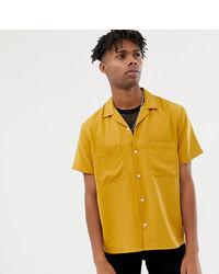 Горчичная рубашка с коротким рукавом