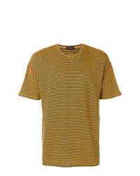 Мужская горчичная футболка с круглым вырезом в горизонтальную полоску от Roberto Collina