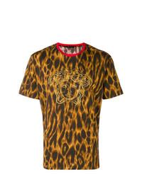Мужская горчичная футболка с круглым вырезом с леопардовым принтом от Versace