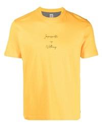 Мужская горчичная футболка с круглым вырезом с принтом от Eleventy