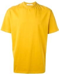 Мужская горчичная футболка с круглым вырезом