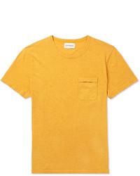 Мужская горчичная футболка с круглым вырезом от Oliver Spencer