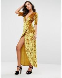 Женское горчичное бархатное вечернее платье от Boohoo