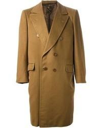 Горчичное длинное пальто