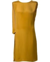 Горчичное платье прямого кроя