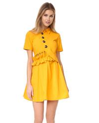 Горчичное платье-рубашка