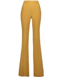 Горчичные широкие брюки