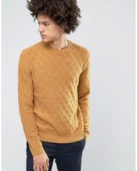 Мужской горчичный вязаный свитер от Asos