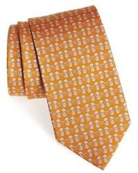 Горчичный галстук с принтом