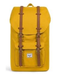 Горчичный рюкзак из плотной ткани