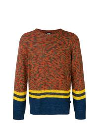 Мужской горчичный свитер с круглым вырезом в горизонтальную полоску от Diesel
