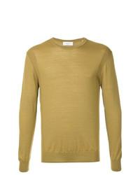 Мужской горчичный свитер с круглым вырезом от Cerruti 1881