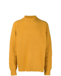 Мужской горчичный свитер с круглым вырезом от MSGM